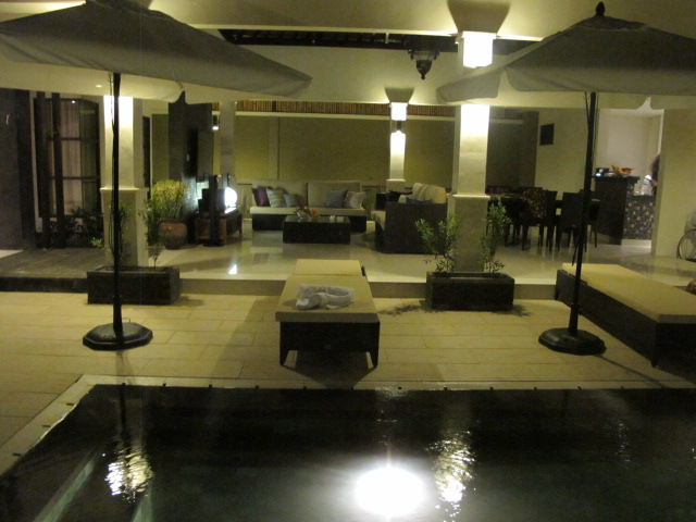 View of pool and living area